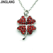 (Valentine's Gift) New Arrival Top Selling High Quality Fashion Four Leaf Clover Pendant Necklace WIth Colorful Crystal(China)