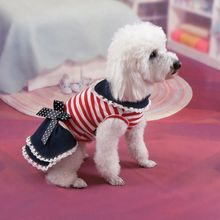 Summer Dog Dresses Puppy Dog Tutu Dress Demin Striped Princess Party Pet Clothes Costumes