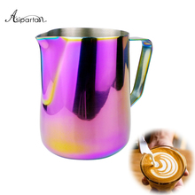 Asipartan Frothing Jug Espresso Coffee Pitcher Barista Craft Coffee Latte Milk Frothing Jug Stainless Steel Colorful Mug(China)