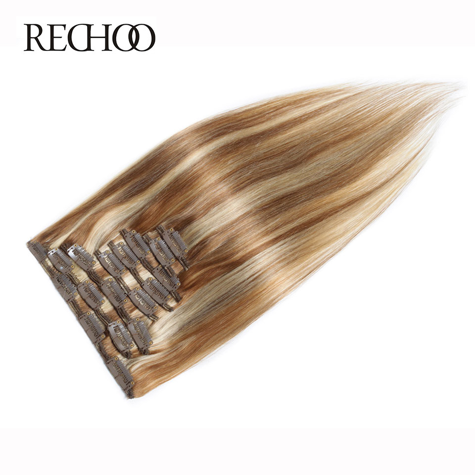 Rechoo Mix Colors 8/613 Human Brazilian Hair Straight 120G Non Remy 7 pieces 16-26 Full Head Clip Ins Natural Hair Extension<br><br>Aliexpress