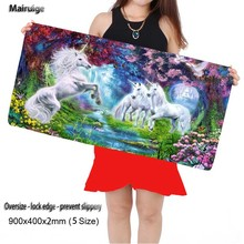 Mairuige Shop White Horse Large Game Gaming Animal Mouse Pad 900*400 DIY Picture with Edge Locking Mouse Mat for CSGO Dota 2 LOL(China)