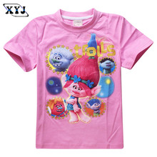 2016 The Good Luck Trolls T-shirt Girls Tees Cute Trolls Doll Clothing Kids Tops Children Girls Tees Pink Purple Cute Clothes(China)