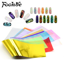 10/20 Sheets/Set 3D Holographic Broken Glass Foils Finger Nail Art Mirror Stickers for Nails Glitter Stencil Decal DIY Manicure(China)