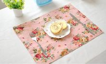 Linen Cotton Pad Placemat Fabric Pastoral Dining Table Mats Pad Coaster Flower Pattern Napkin Table Decoration Kitchen wares(China)