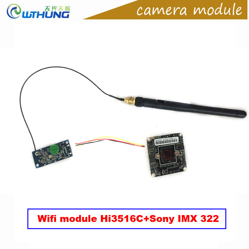 Wifi IP Camera board 1080P 2.0MP 1/2.8 CMOS Sony IMX322+Hi3516C Module Support Onvif2.0 P2P Motion Detector Wireless Connect<br>