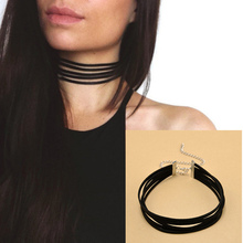 Harajuku 90's Black Velvet Choker Necklace 5 layers Goth Gothic Handmade Ribbon Collar Necklaces Retro Burlesque Free Shipping(China)