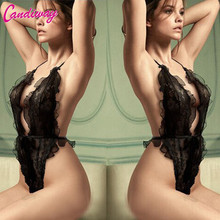 Hot Sexy Lingerie Hot Women Lace Perspective Babydolls Black Sexy Chemise Deep-V Backless Package Hip Transparent Sexy Underwear