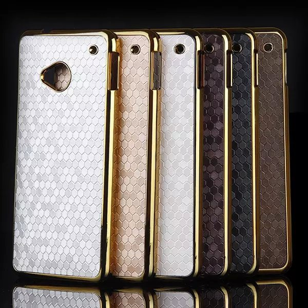 For HTC One M7 Case Luxury Gold Plated Frame Bumper Football Skin Hard Plastic Cover Coque For HTC One M7 Phone Protective Shell(China (Mainland))