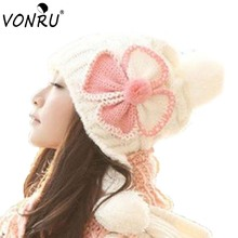 Women Winter Beanie Hat Knitted Warm Hats Fashion Design Four Leaves Flower Crochet Thick Skullies Beauty Caps(China)