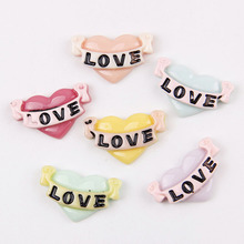 Wholesale 50pcs 15*25mm Mix color Resin flat back cabochon Heart with love fit phone hairpin headware DIY210233(China)