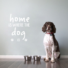 Pet Quote Vinyl Wall Stickers Home Is Where The Dog Is Decals for Puppy House Living Room Decoration