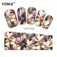 YZWLE 1 Sheet Chic Flower Nail Art Water Decals Transfer Stickers Splendid Water Decals Sticker(YZW-1406)