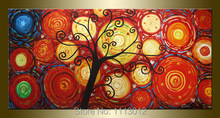 Hand Painted Modern Home Decor Big Red Life Tree Oil Painting Canvas 1 Panel Art Set Large Wall Abstract Picture For Living Room