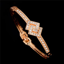 MINHIN Mix Styles Gold -color Cuff Bracelet For Women Ladies Romantic Rhinestone Mosaic Bracelet&Bangle  Crystal Jewelry