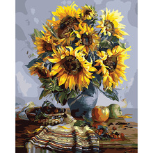 """Sunflower & best wish"" DIY Digital Paint picture Kit Painting by Numbers 40*50cm on Canvas Home Decor Wall Poster Gift DY448"