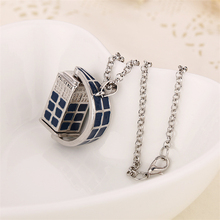 dr doctor who necklace rotating tardis police box vintage blue and silver pendant jewelry for men and women wholesale