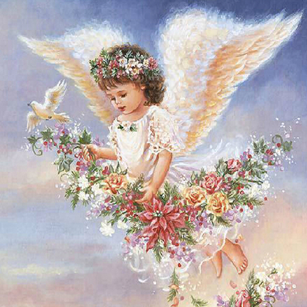 Glymg Diy Diamond Embroidery Angel Girl Wings Fly Painting Cross Stitch Full Square Drill