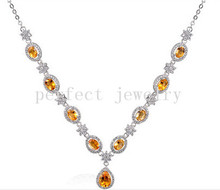 Real citrine necklace Natural and real citrine 925 sterling silver Yellow crystal 0.45ct*8pcs,1.9ct*1pc gems #15050716(China)
