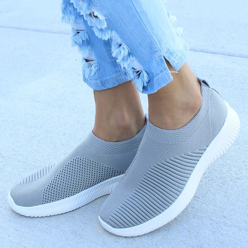 New Ladies Tennis Shoes Stretch Knitting Autumn Flats Women Plus Size Breathable Casual Comfort Shoes Female Fashion Footwear   (China)