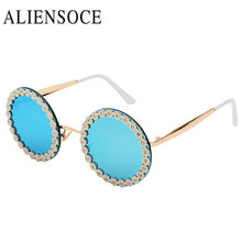 ALIENSOCE Newest Boutique Flower Round Sunglasses Women Vintage Sun glasses Summer Vacation Party Ladies Beach Eye Ware UV400