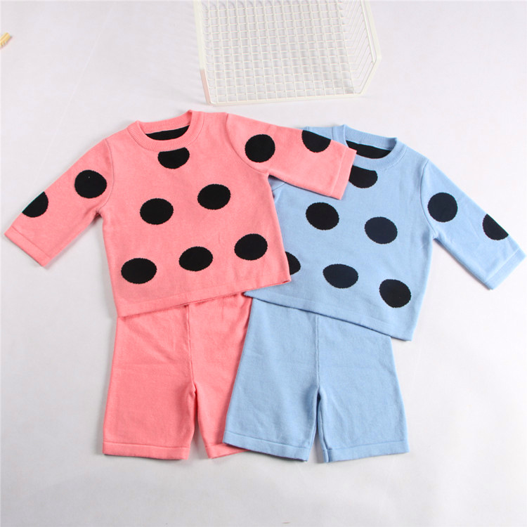 New Polka Dot Kids Sweater Clothing Set Spring Autumn Cute Outwear Outfit Set Kids Baby Boys Girls Cardigan Knitted Sweater<br>