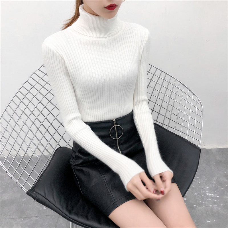 19 Women Sweater casual solid turtleneck female pullover full sleeve warm soft spring autumn winter knitted cotton 13
