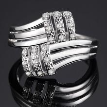 Zircon AAA Exquisite Women Jewelry Round Cut Pink & White Nice Band   Silver Plated Band Ring Size 6 7 8 9