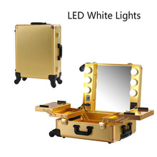 Golden LED White Light Professional Aluminum Rolling Cosmetic Case Makeup Lighting Studio without legs portable Box 2016 New(China)