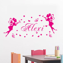 Fairies Butterflies Hearts Wall Art Decals Customize Any Name Removable Vinyl DIY Wall Stickers Home Decor For Girls Bedoom(China)