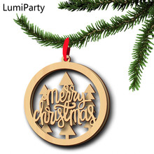 LumiParty 6pcs New Year Christmas Tree Decoration Wooden Hollow Letter Christmas Tree Hanging Props Holiday Party