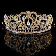 New Gold Silver Pink Bridal Tiaras Crowns Crystal Rhinestone Pageant Prom Bridal Wedding Hair Accessories Headband Wedding Tiara(China)