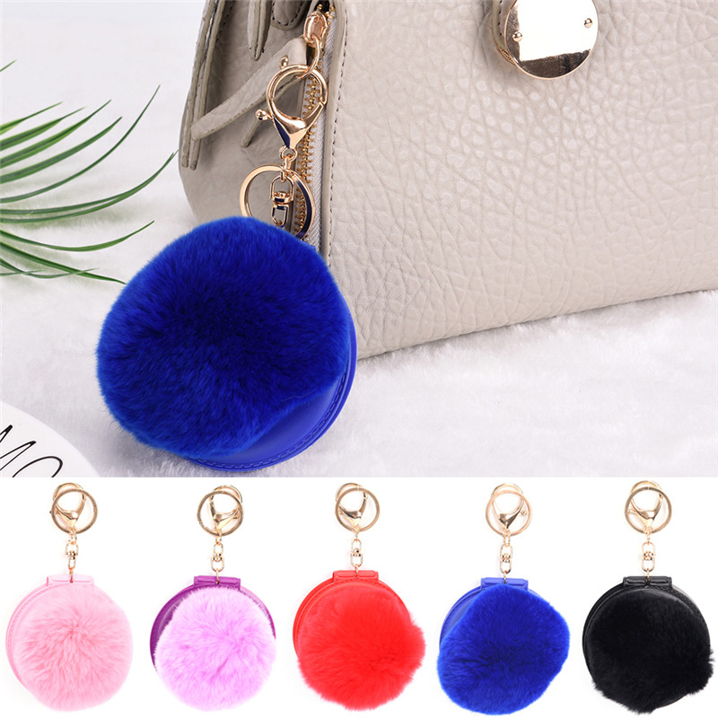 2017 Lovely PU Leather Mirror pendant Women Make Up Mirror For Bag Charm Accessories 6 Colors