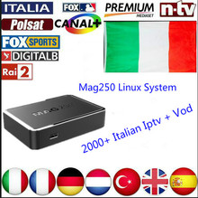Italian IPTV Mag250 2000+Channels VOD Linux OS STi7105 RAM 256 Smart TV Arabic iptv French Iptv Europe Iptv & vods Adults(China)