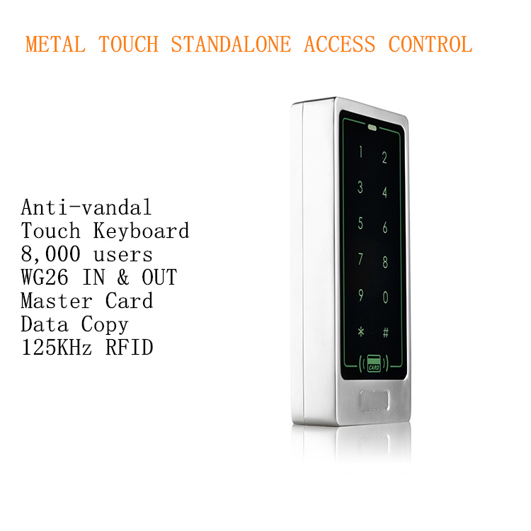 8,000 Users Metal Case Touch Keyboard Single 125KHz RFID Door Access Controller Standalone.<br>