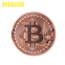 Buy AtSKnSK 50PCS Collectibles 999 FINE Copper Plated Bit Coin Coins Copper Clad Coins Bitcoin BTC Gold Plated Commemorative Art for $112.50 in AliExpress store