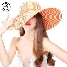 FS verano hecho a mano grande ala del sombrero de paja para señoras  Kentucky Derby sombreros tocados negro flor blanca Floppy Ca. 307fe3c9f9e5