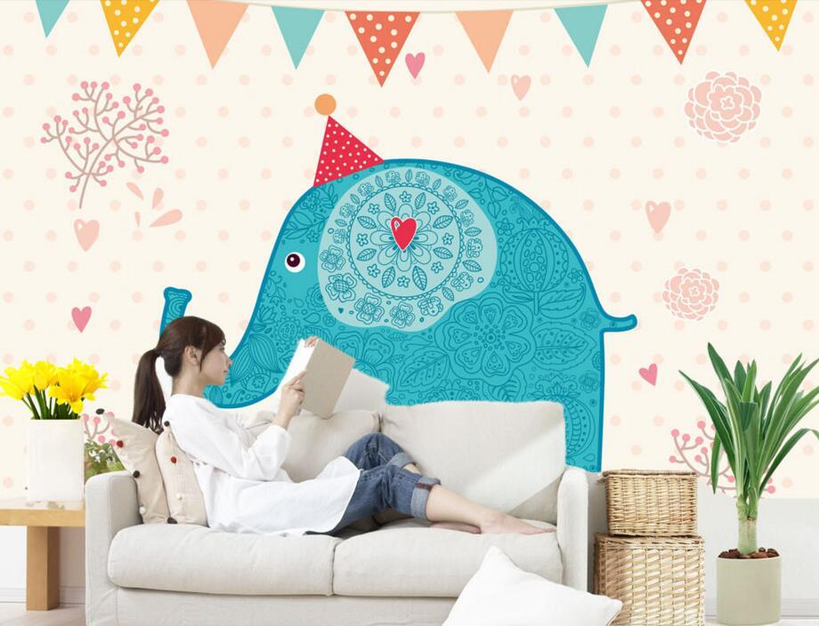 Custom wall papers home decor,cartoon lovely elephant wallpaper,living room TV sofa wall children bedroom murals papel de parede<br>