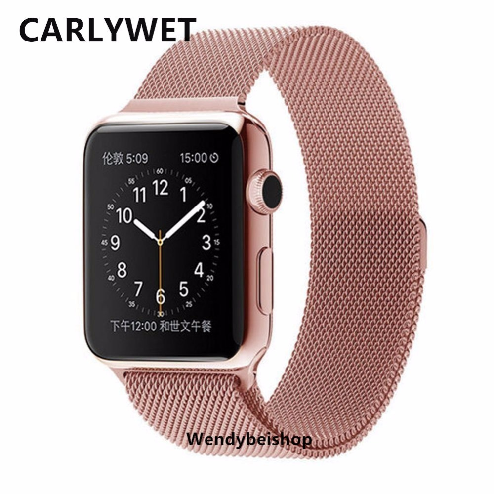 Pink Wowen Mesh Milanese Loop Steel Bracelet Wrist Watch Band Strap with Adapter Connector For Apple Watch Iwatch 38mm 42mm <br><br>Aliexpress