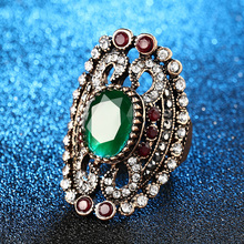 Calia Charms StoneRings For Women Vintage Jewelry Plate Gold Mosaic Crystal Big Engagement Ring Party Gift 2PCS/Lot(China)