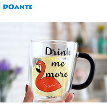 DOANTE Brand 360ml Double Wall Borosilicate Glass Coffee Mug Heat Resistance Tea Moomin Milk Cup Drinkware Water Bottle