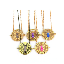 Hermione Granger Rotating Time Turner Gold/Silver Necklace Hourglass Sand Necklaces Women Men Silver Gold Link Chain