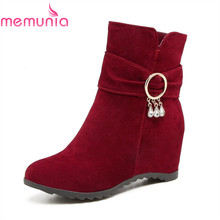 MEMUNIA 2018 new arrival 패션 boots hot sale 높이 증가 힐 boots round toe 떼 년 동계 ankle boots womens(China)