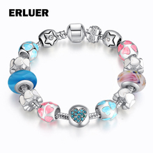 Buy ERLUER 4 Style Jewelry silver Plated Fashion Austrian Crystal DIY Strand Glass Beads Charm Bracelets & Bangles Women Gifts for $3.97 in AliExpress store