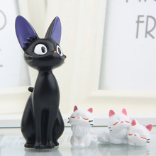 4pcs/lot Black Cat White Cat Anime Kiki's Delivery Service Kiki Cat Resin Action Figures Model Toys Children DIY landscape doll(China)
