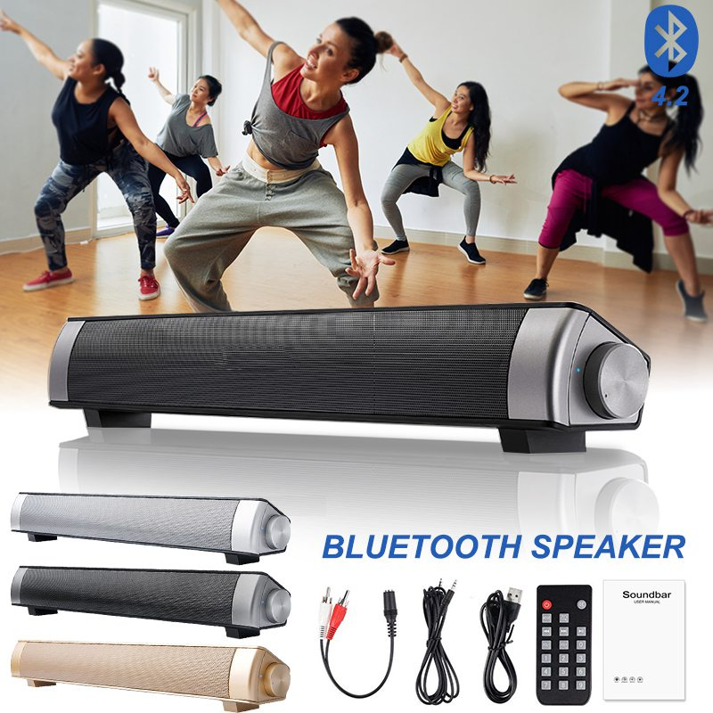 VTIN Wireless Bluetooth Speaker 4.2 SoundBar Remote Control TF Card TV Cellphone Tablet Surround Sound System TV Speaker Golden (16)