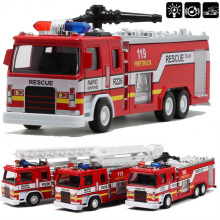 Free shipping 1:32 scale alloy construction vehicles, pull back model cars,Fire truck,Diecast Truck Model For Baby Gifts toys(China)