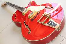 Free shipping New GRETS CH 6120 Jazz electric guitar semi hollow with bigsby bridge gold hardware In Orange 120725