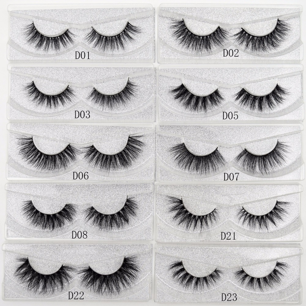 Visofree False eye lashes handmade natural make up False eyelashes glitter packing 1 pair box make up sexy 3D Mink Lashes D01(China)
