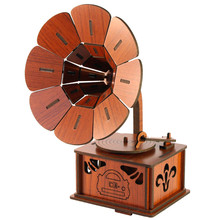 creative DIY wooden phonograph model to be assembled musical instruments ornaments wood decoration wood furniture shooting props