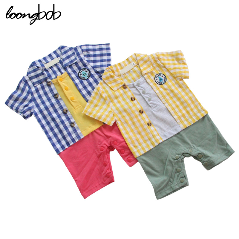 Newborn baby boy romper summer bebes short sleeves casual baby rompers cotton turn-down collar infants jumpsuit 753C<br><br>Aliexpress